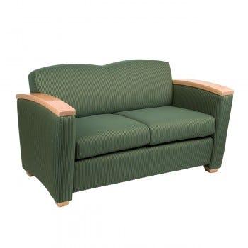 Lounge Settee, Wood Armcaps (LS-PINW2)