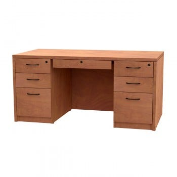 Double Pedestal Desk, Box/Box/File with Locking Center Drawer