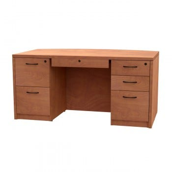 Double Pedestal Desk, Left File/File with Locking Center Drawer