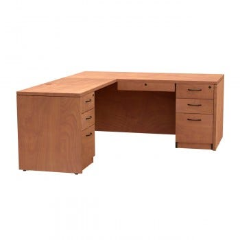 Left Return, Box/Box/File Drawer with Locking Center Drawer