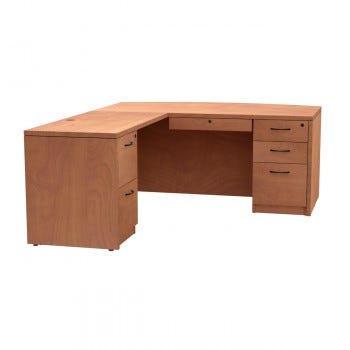 Bow Front With Left Return, Left Side File/File Drawer with Locking Center Drawer
