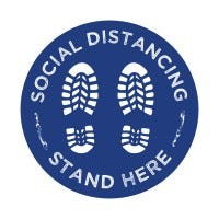 Social Distancing Decal (White Font/Blue Background)