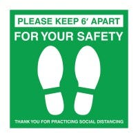 Social Distancing Decal (White/Green)