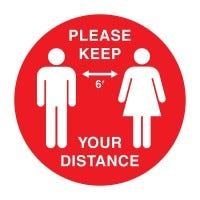 Social Distancing Decal (White/Red)