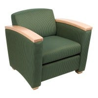 Lounge Chair, Wood Armcaps (LS-PINW1)