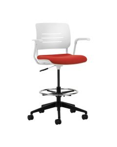 Grazie Task Stool (Poly Back w/Upholstered Seat)