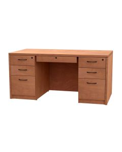 Double Pedestal Desk, Box/Box/File with Locking Center Drawer